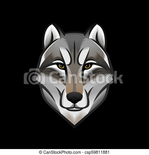 dog or wolf head logo or icon colorful emblem stock vector