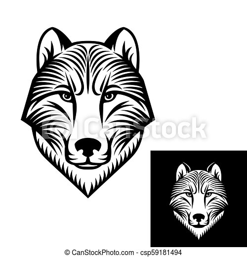 dog or wolf head logo or icon in one color stock vector
