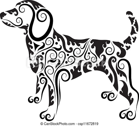 dog ornament vector dog drawing with floral ornament decoration