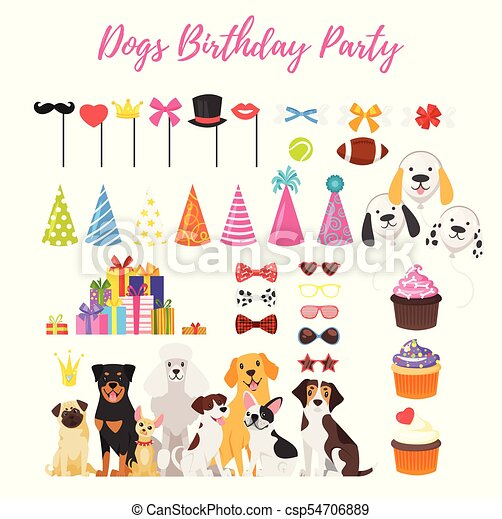 Dog Party And Birthday Elements