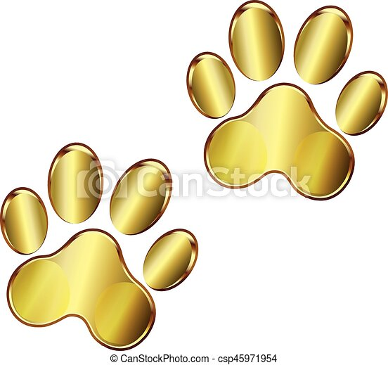 dog paw print logo dog paw print gold logo design vector clipart rh canstockphoto com dog paw print vector free dog paw print vector free download
