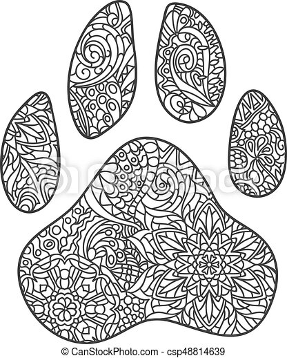 Vector Monochrome Hand Drawn Zentagle Illustration Of Dog Paw Print Coloring Page Isolated On White Background Boho Style Design For T Shirt