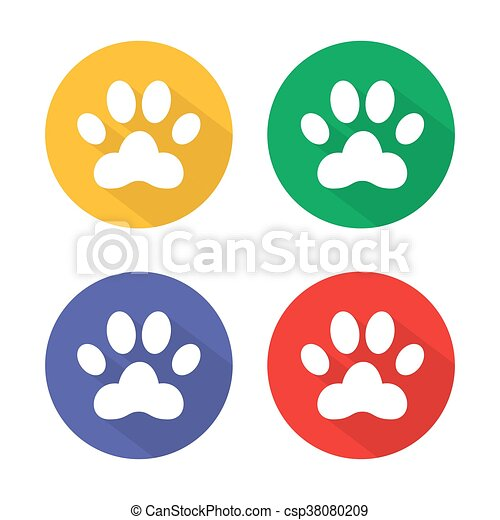 Dog Paw Sign Icon Pets Symbol Circle Buttons With Long Shadow 4