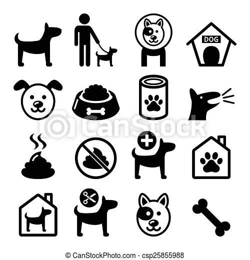 Dog, pet icons set- vet, dog's food - csp25855988