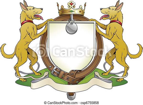 Dog pets heraldic shield coat of arms - csp6755858