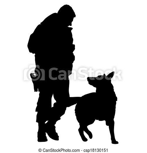 dog, politie, silhouette, 5 - csp18130151