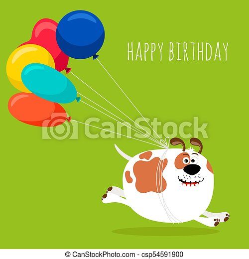 Dog running with air balloons card - csp54591900