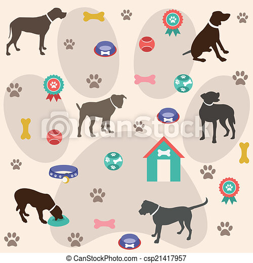 dog, seamless, model, iconen - csp21417957