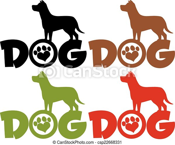 Dog Silhouette Over Text Collection - csp22668331