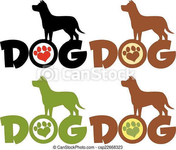 Dog Silhouette Over Text With Paw  - csp22668323