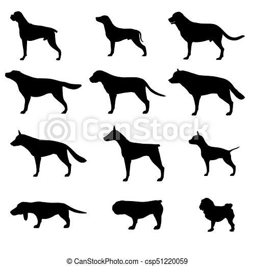 Dog silhouette vector icon pet set isolated animal black collection illustration - csp51220059