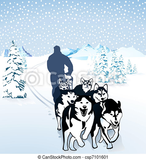dog sledding in the snow rh canstockphoto com dog sled clipart dog sled clip art scenes