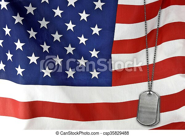 dog tags on American flag - csp35829488