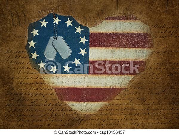 dog tags on heart flag - csp10156457