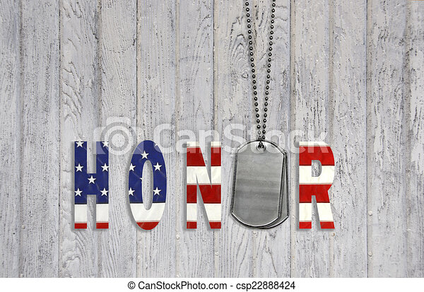 dog tags with honor  - csp22888424