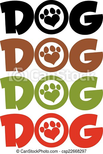Dog Text With Love Paw . Collection - csp22668297