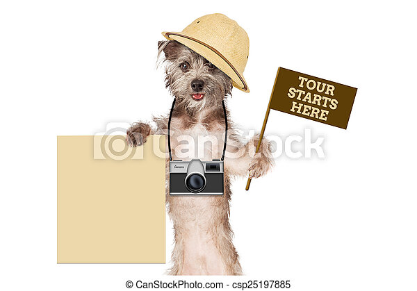 Dog Tour Guide Blank Sign - csp25197885