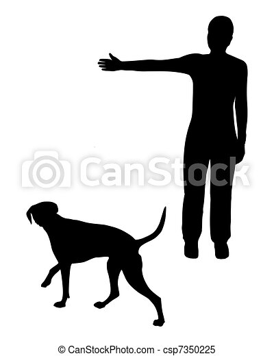Dog training (obedience): Command: Go right! - csp7350225