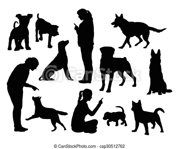 Dog training silhouettes  - csp30512762