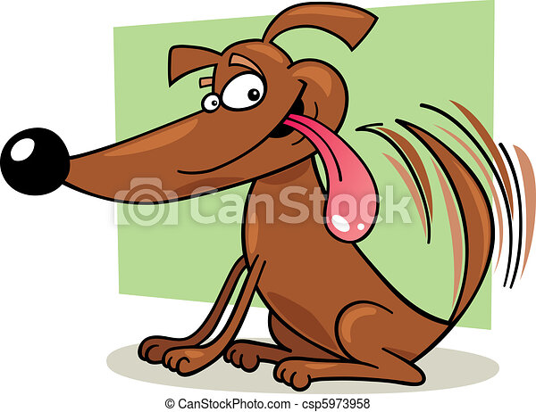 Dog wagging his tail - csp5973958