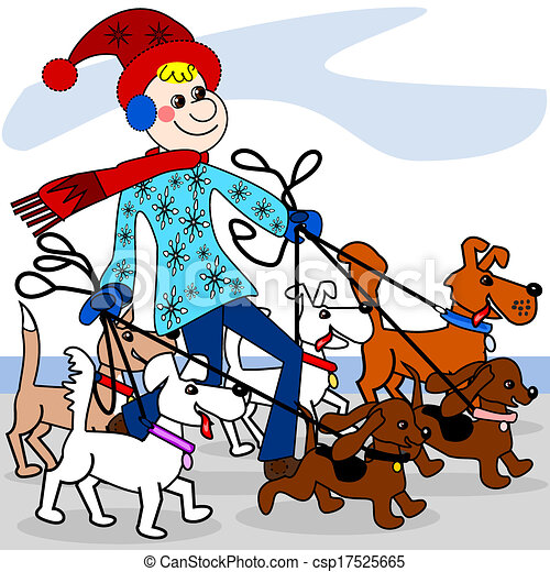 dog walker the dog walker is walking multiple dogs in the winter rh canstockphoto com dog walking pictures clip art walk the dog clipart