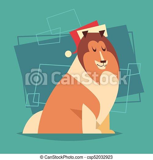 dog wear santa hat new year 2018 symbol winter holidays icon csp52032923