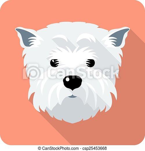 dog West Highland White Terrier icon flat design  - csp25453668