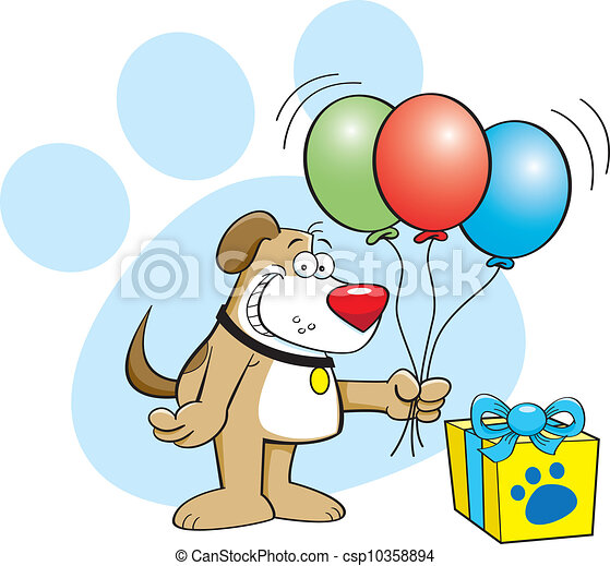 Dog with balloons - csp10358894
