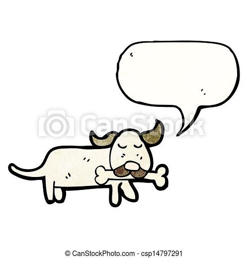 dog with bone cartoon - csp14797291
