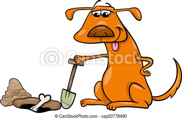 dog with bone cartoon illustration - csp20778490