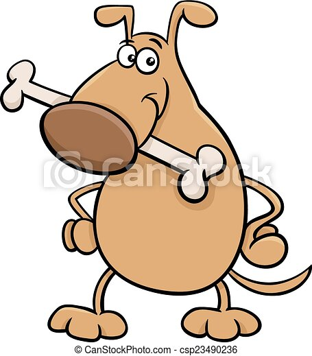 dog with bone cartoon illustration - csp23490236