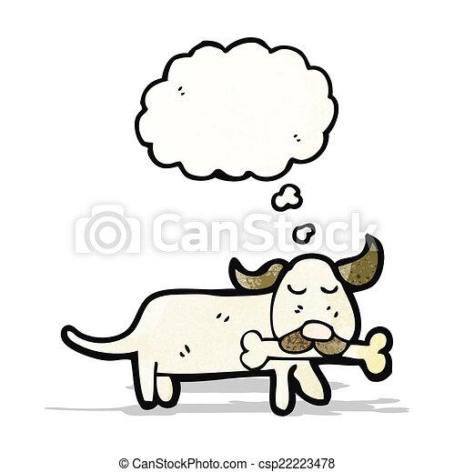 dog with bone cartoon - csp22223478