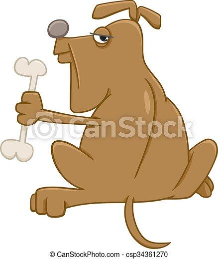 dog with bone cartoon - csp34361270
