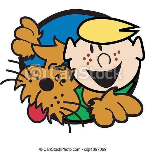 Dog With Boy Clip Art Graphic - csp1397069