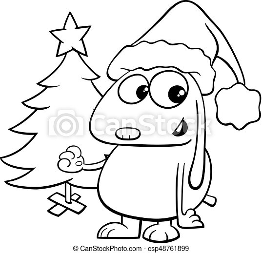 Dog with christmas tree coloring book. Black and white cartoon ...