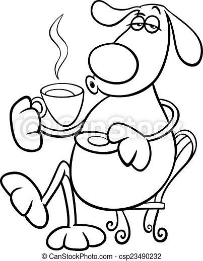 dog with coffeel coloring page - csp23490232