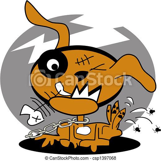 Dog with fleas clip art graphic - csp1397068
