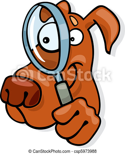 Dog with magnifying glass - csp5973988