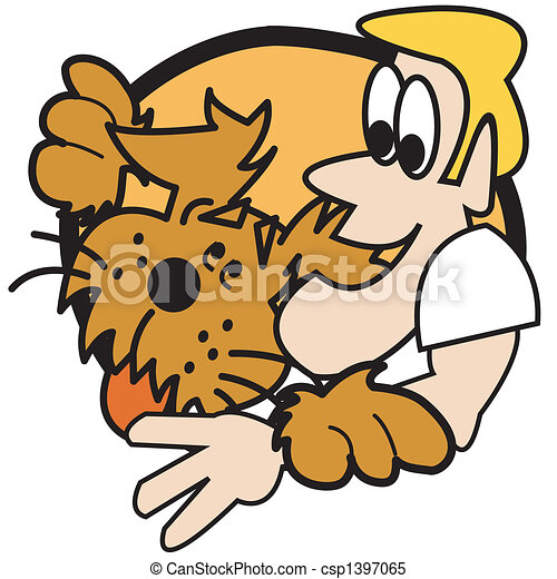 Dog With Man Clip Art Graphic - csp1397065