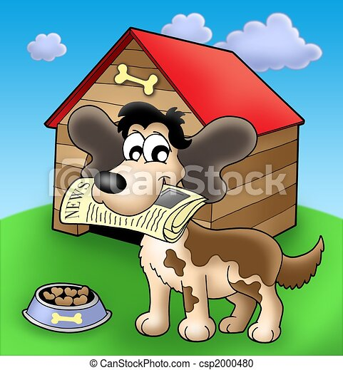 Dog with news in front of kennel - csp2000480