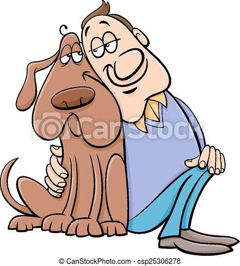dog with owner cartoon illustration - csp25306278