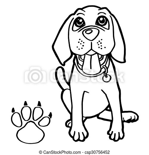 dog  with paw print Coloring Pages  - csp30756452
