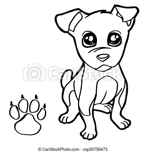 dog  with paw print Coloring Pages  - csp30756473