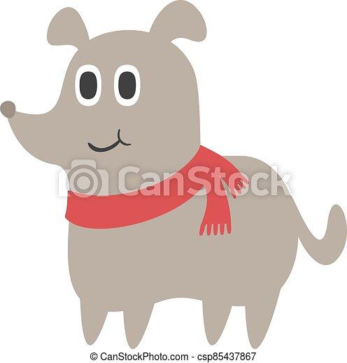 dog with scarf draw - csp85437867