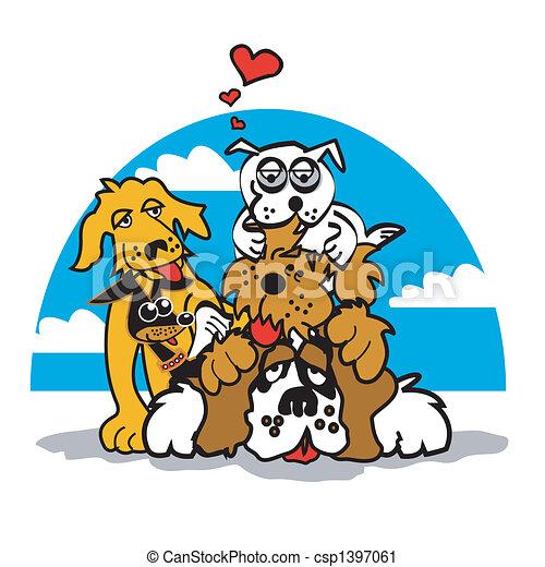 Dog With Valentine Heart Clip Art - csp1397061