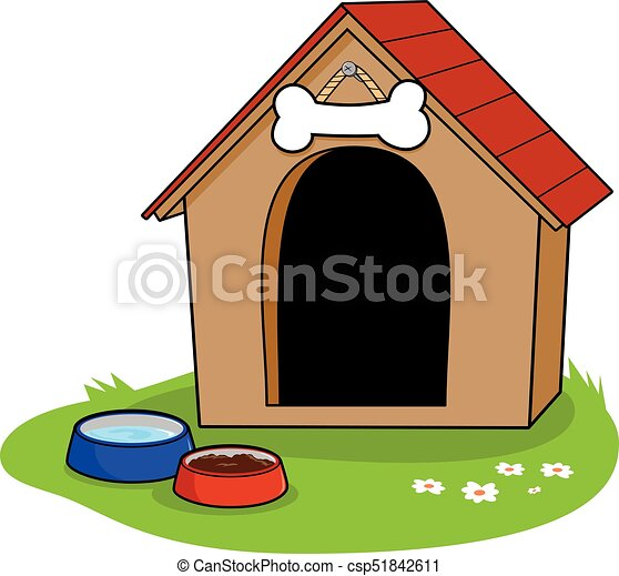 a doghouse and bowls of water and dog food vector clip art search rh canstockphoto co uk cute dog house clipart snoopy dog house clipart