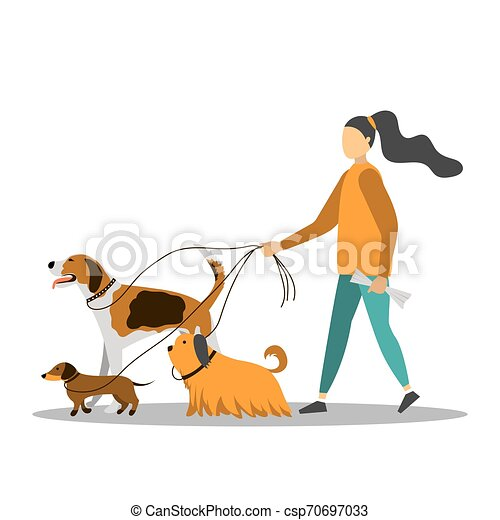 Mujer joven caminando con cinco perros. - csp70697033