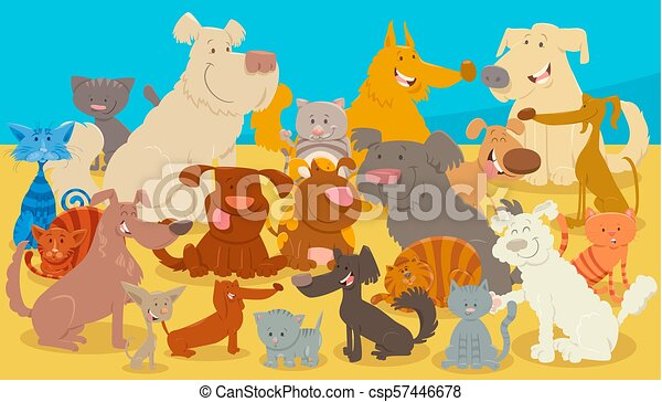 dogs and cats cartoon animal characters - csp57446678