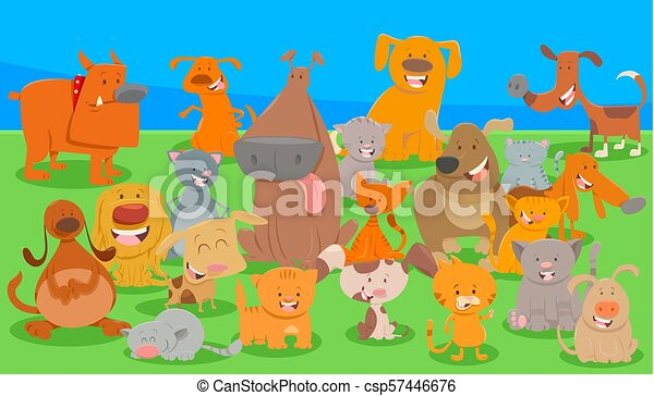 dogs and cats cartoon characters group - csp57446676