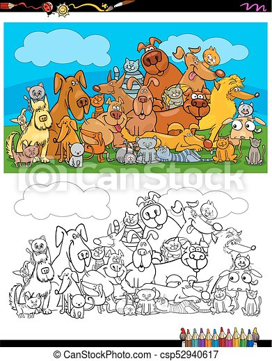 dogs and cats characters coloring book - csp52940617